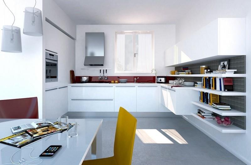 cocina estantes abiertos pared roja ideas