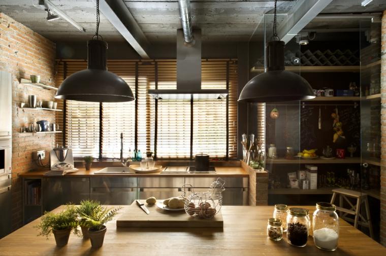 cocina industrial ladrillos variantes madera