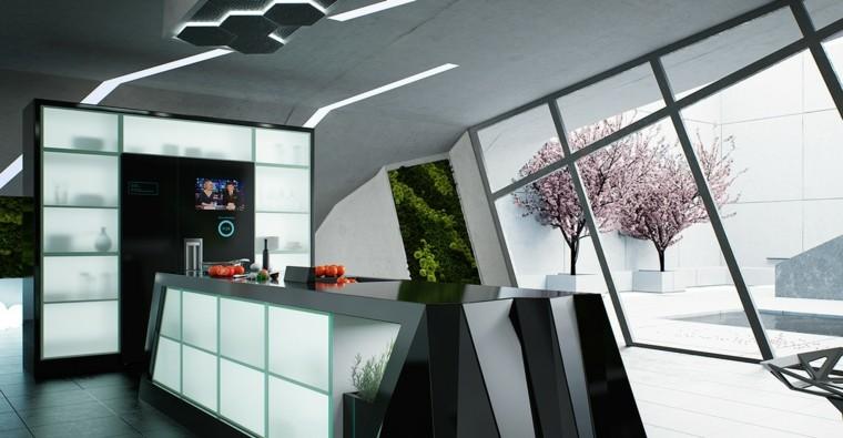 cocina moderna creativa cristales led