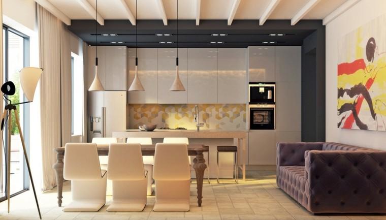 cocina moderna creativa pinturas lamparas