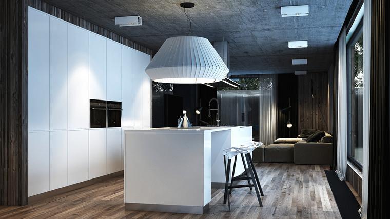cocina moderna creativa suelos madera led