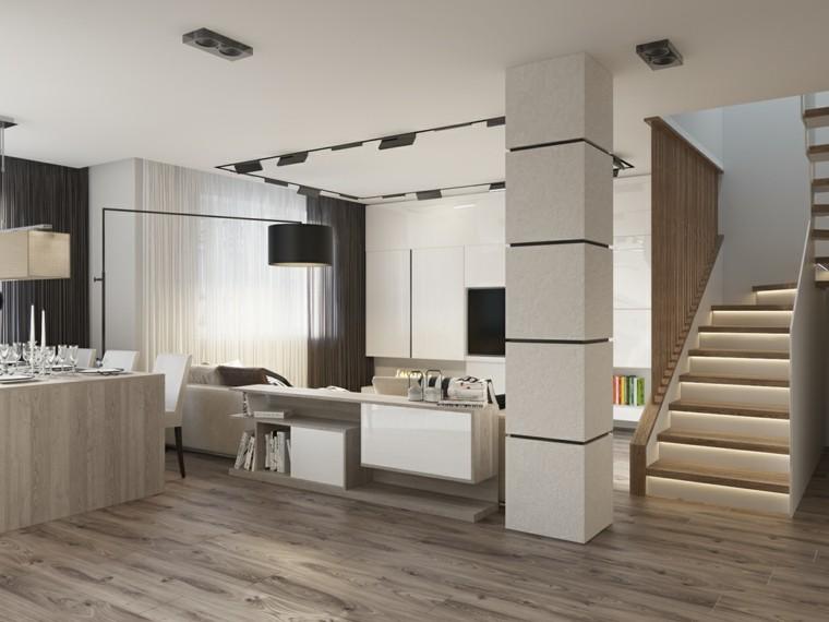 color blanco decoracion escaleras led lamparas