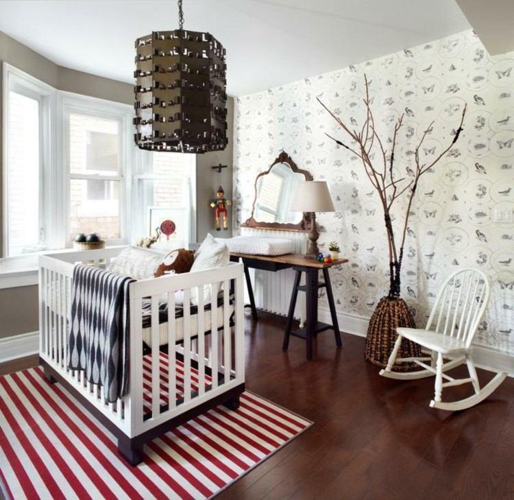 color blanco habitacion alfombras rojo ramas