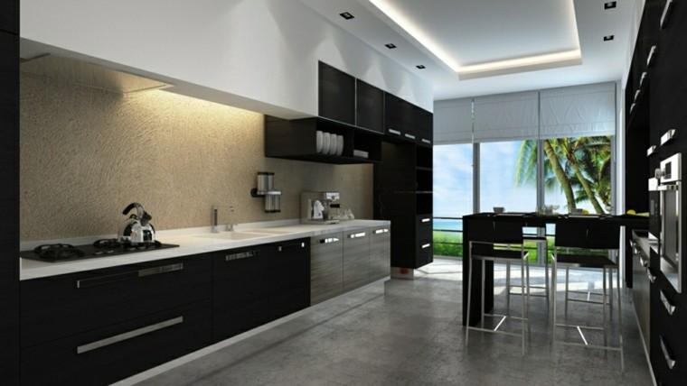 color negro ideas cocinas falso techo palmeras