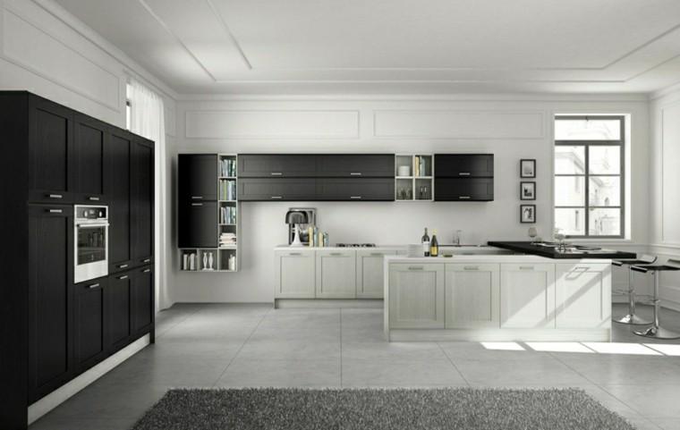 color negro ideas cocinas moderna blanco taburete