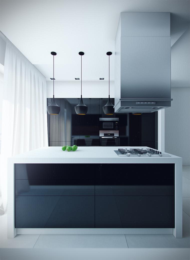 color negro cocinas moderna minimalista
