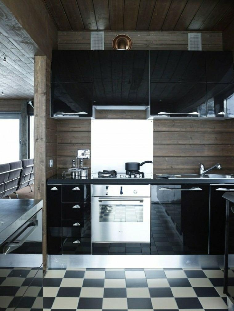 color negro ideas cocinas moderna suelo cobre