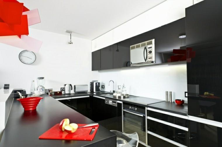 color negro ideas cocinas rojo contraste