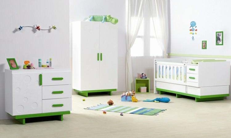 colorido espacio bebe paredes camas verde