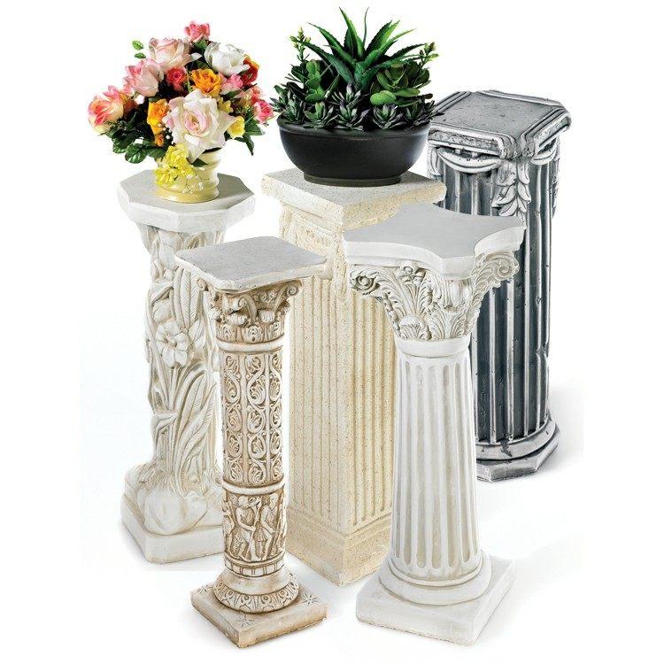 columnas pintadas detalles flores romanas
