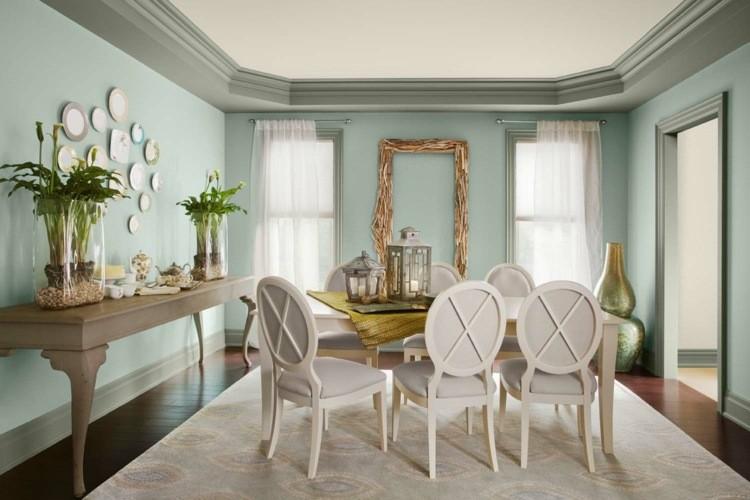 comedor ideas elegir forma color alfombra beige pared azul moderno