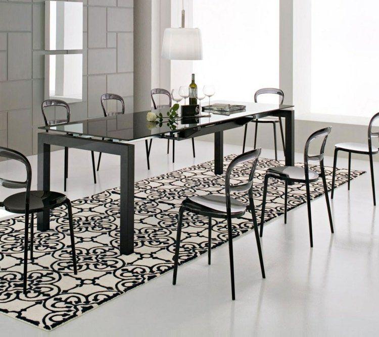 comedor ideas elegir forma color alfombra blanco negro ideas