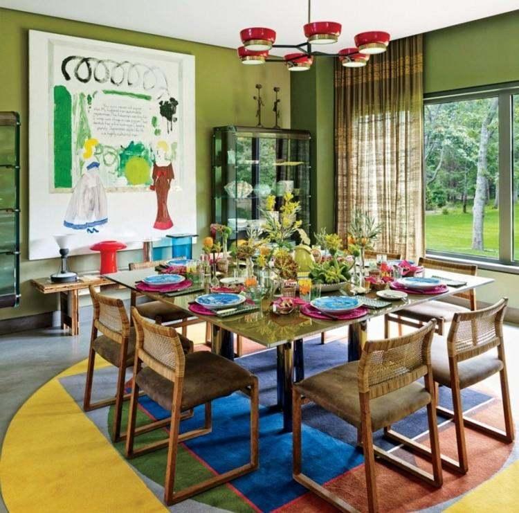 comedor ideas elegir forma color alfombra circular grande moderna