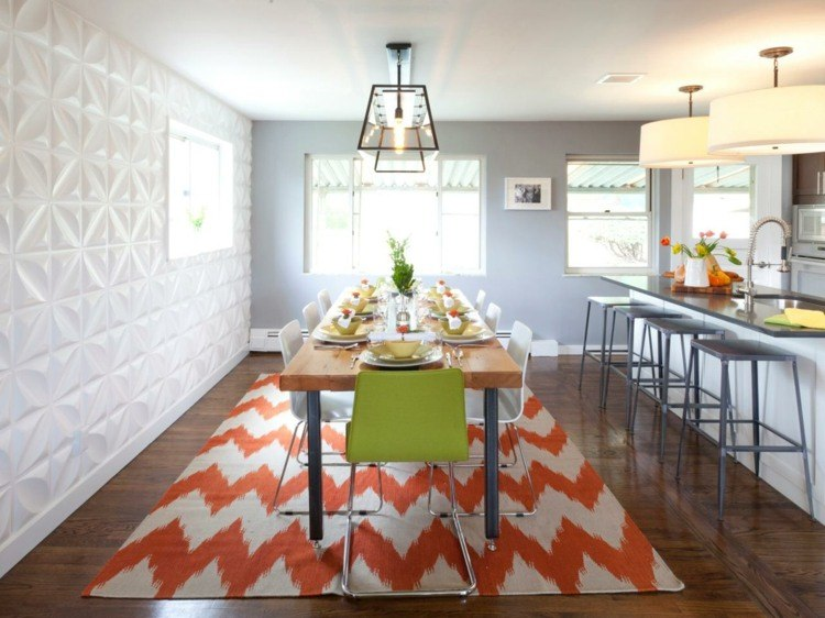comedor ideas elegir forma color alfombra naranja blanco moderno