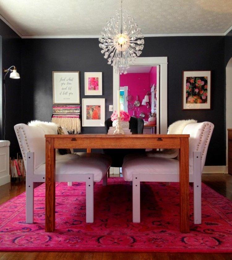 comedor ideas elegir forma color alfombra rosa vibrante moderna