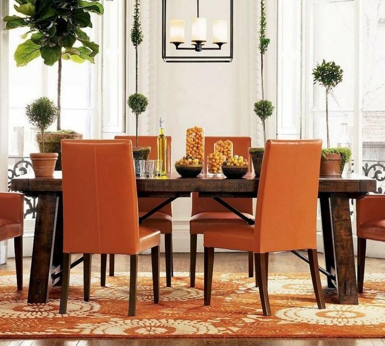 comedor ideas elegir forma color alfombra sillas naranja moderno