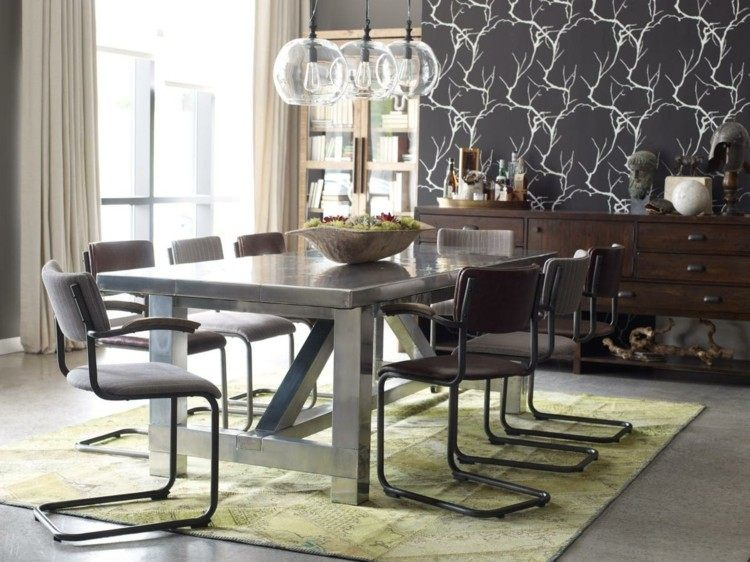 comedor ideas elegir forma color alfombra verde claro moderno
