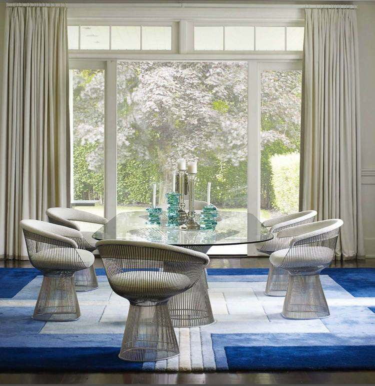 comedores ideas elegir forma color alfombra azul blanco moderno