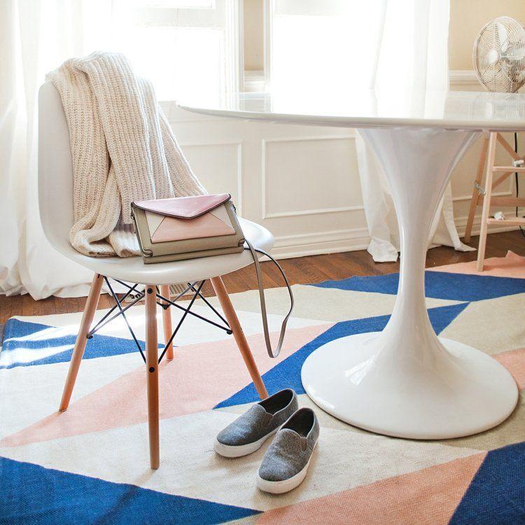 comedores ideas elegir forma color alfombra blanco azul rosa moderna