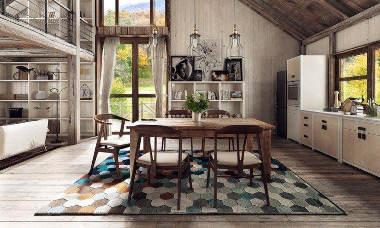 comedores ideas elegir forma color alfombra geometrica ideas