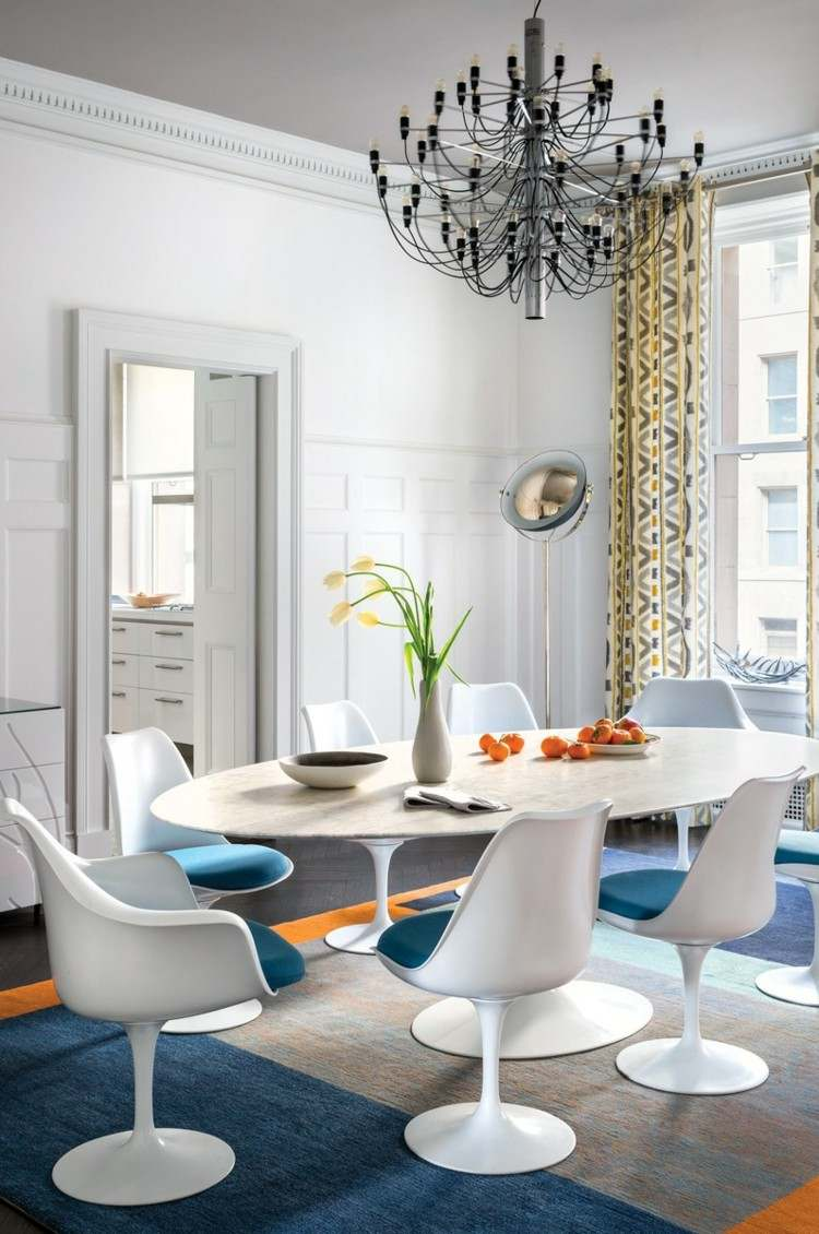 comedores ideas elegir forma color alfombra naranja azul moderna