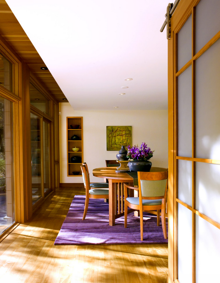 comedores ideas elegir forma color alfombra purpura moderna