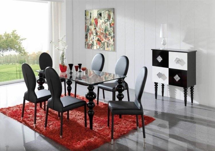comedores ideas elegir forma color alfombra rojo vibrante moderno