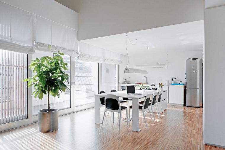 comedores modernos grises blanco cortinas
