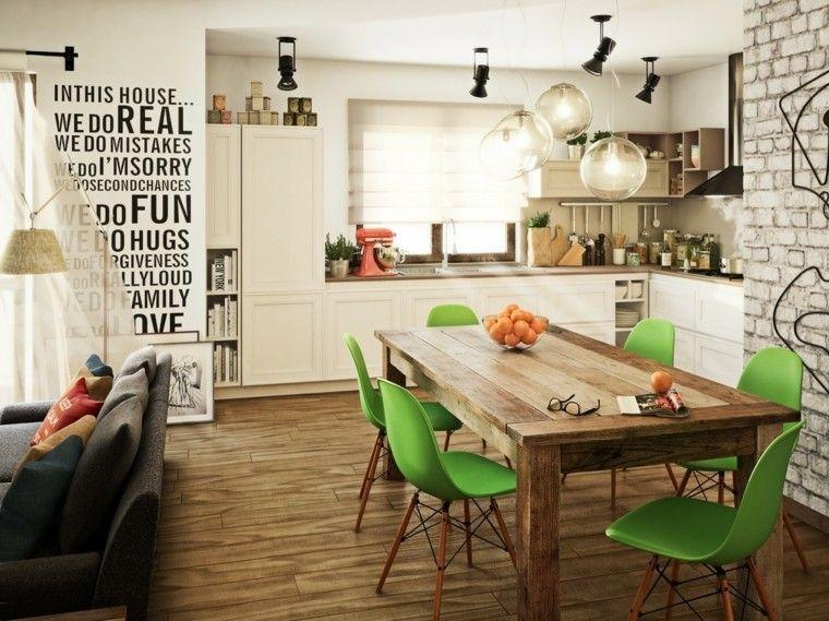 comedores modernos ideas carteles verde