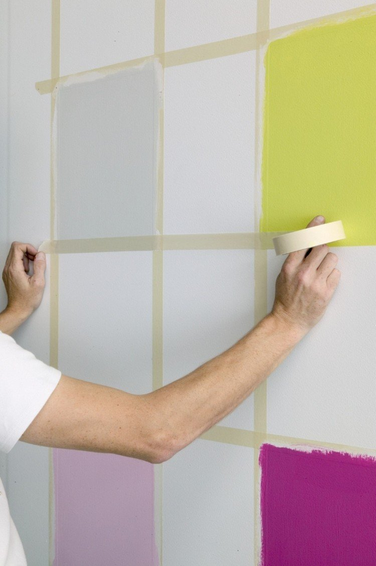 como pintar cuadrados pared decoracion - Decoracion Pintura Paredes