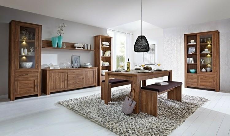 conjunto mesa comedor banco madera