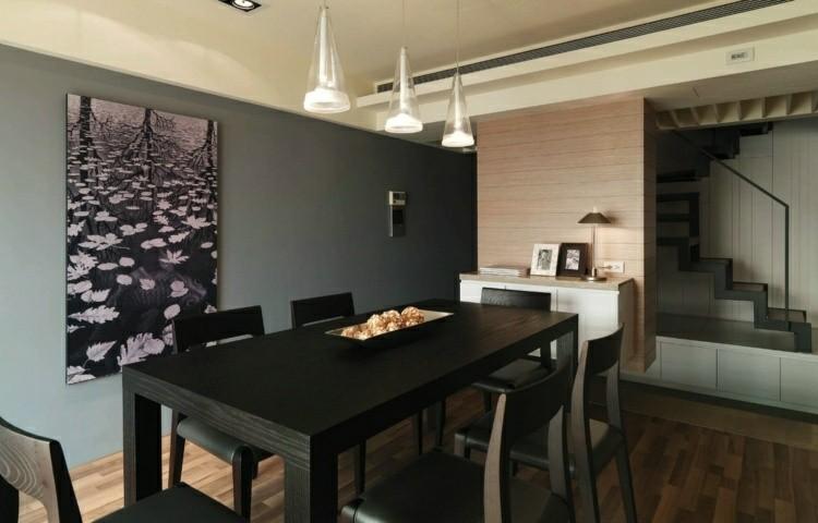 conjunto muebles madera color negro