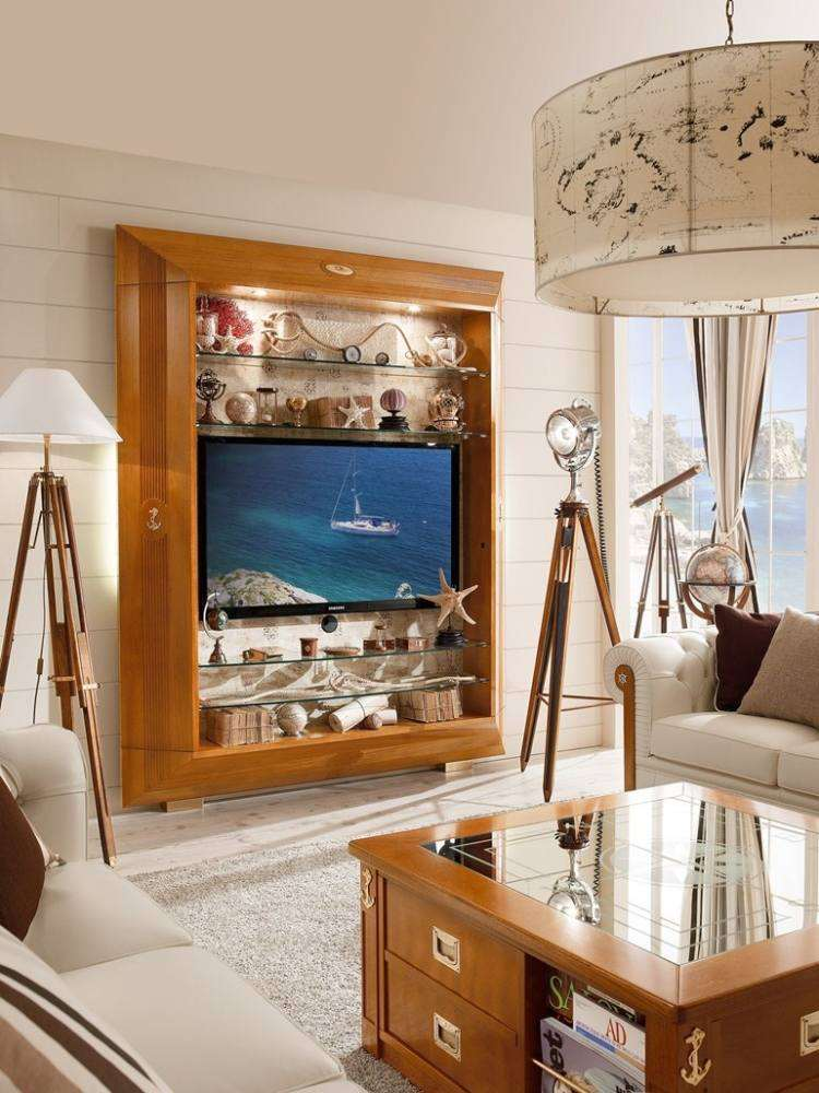 conjunto muebles salon madera nauticos
