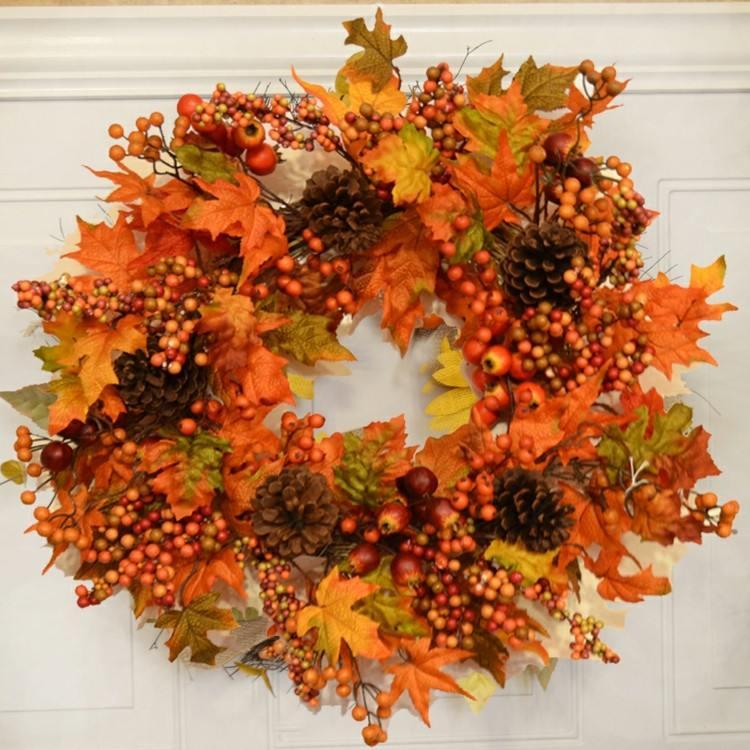 coronas otoño amarillo frutas pinos