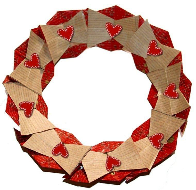 corona corazones rojo carton ideas
