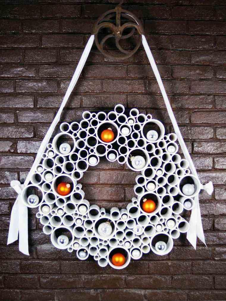coronas adviento tubos blancos deco