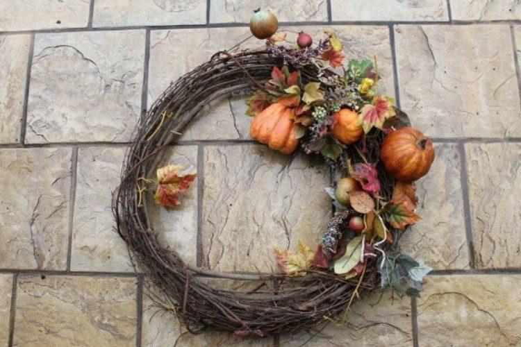 coronas otoño frutas ideas calabazas muros