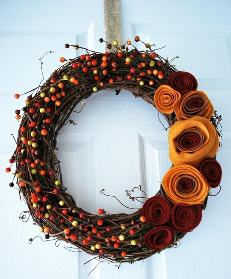 coronas otoño frutas ideas telas