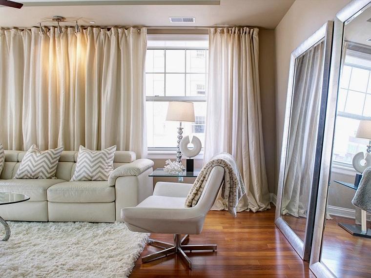 cortinas para saln colores neutrales muebles ideas - Cortinas Salon