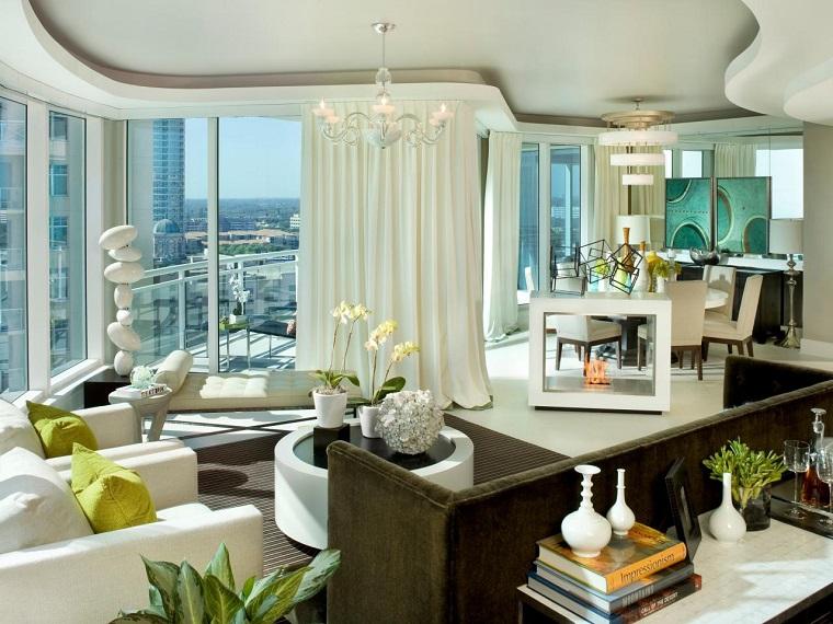 cortinas para salón muebles mesa blanca ideas