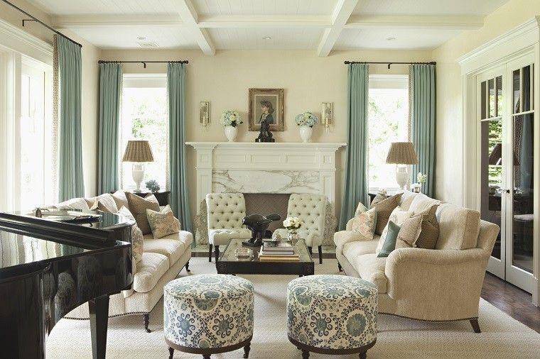 cortinas para salón techo alto taburetes precioso ideas