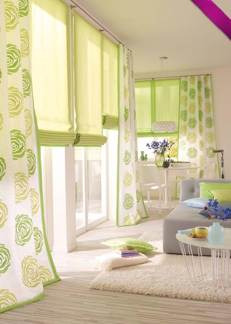 cortinas para sal n 35 ideas encantadoras On cortinas verdes para salon