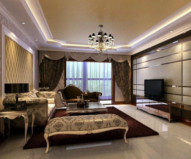 cortinas salon lujoso muebles preciosos ideas