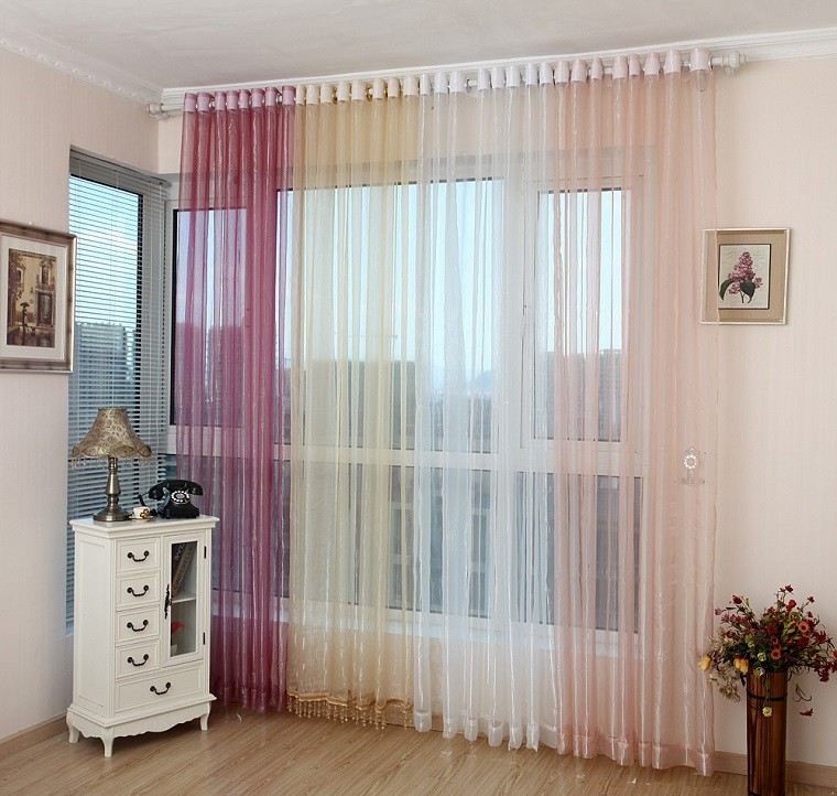cortinas salon organza distintos colores ideas