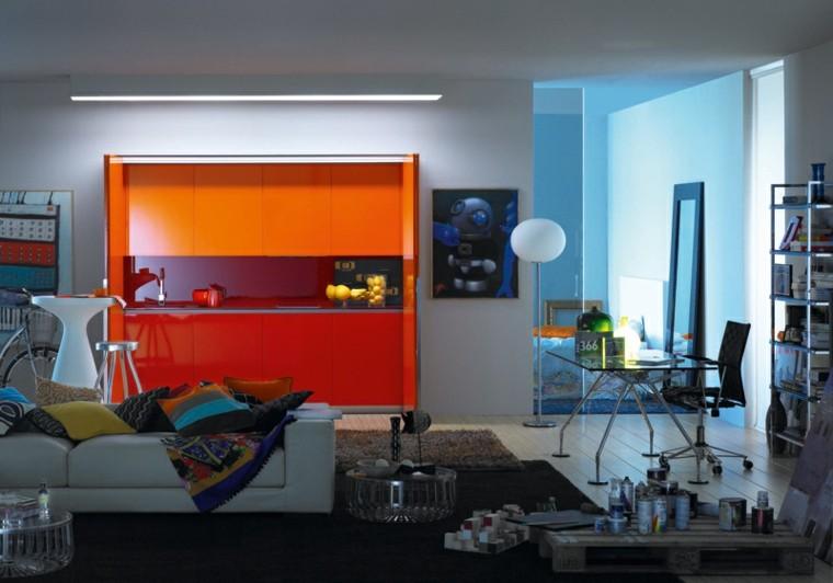 cuadros compacta diferente rojo naranja