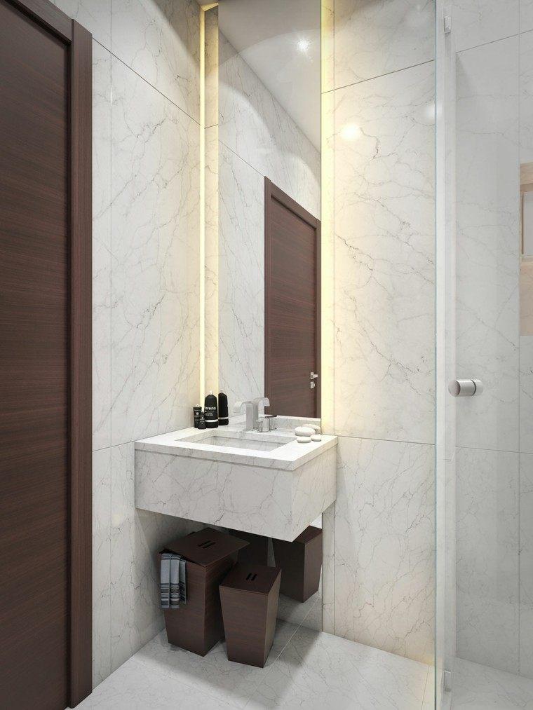 cuarto baño deseño estilo diferente grises led