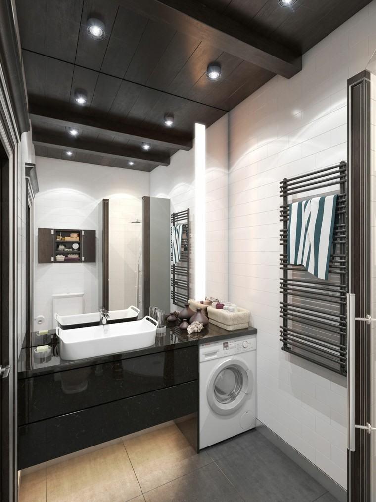 cuarto baño deseño estilo toallas lavadora