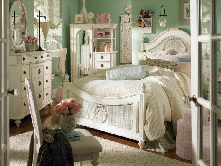 cuarto shabby pared color verde