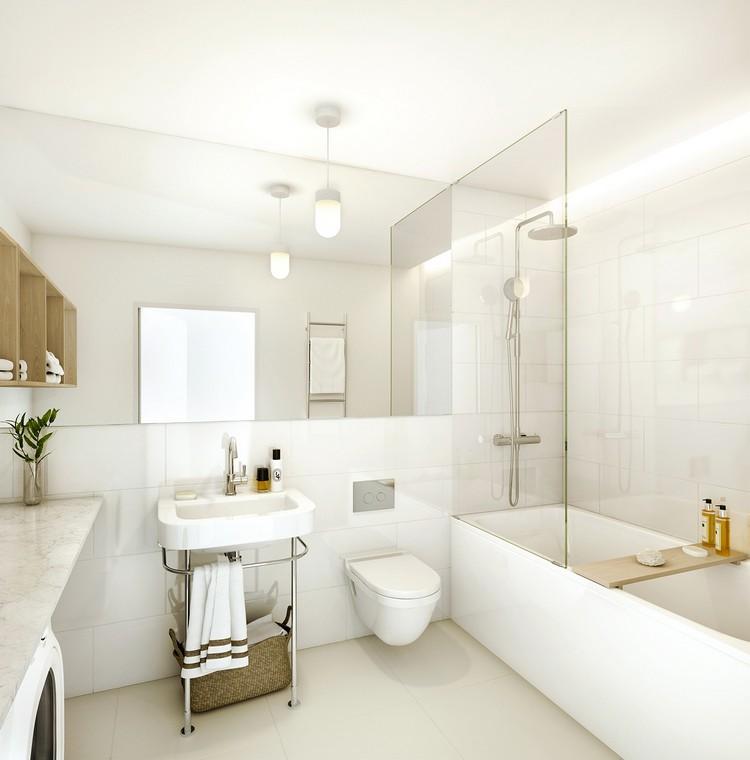 cuarto baño color blanco lamparas