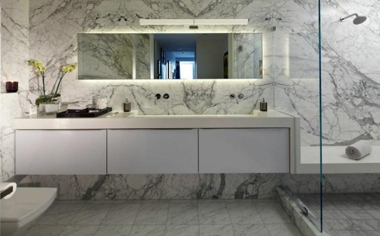 cuartos bano marmol flor ducha mampara ideas